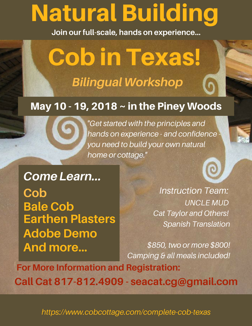 Cob Workshop in Texas!